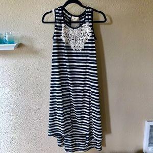 STYLE&CO: STRIPPED-CROCHE PATTERN HIGHLOW DRESS